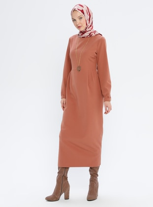 Dusty Rose - Brown - Crew neck - Unlined - Dress