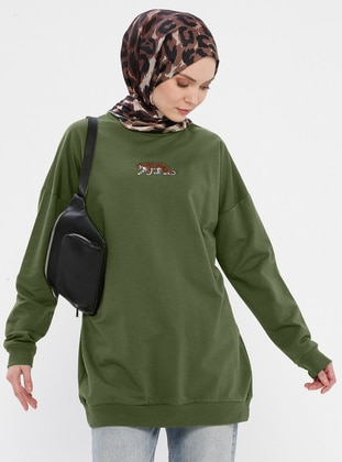 Viscose - Round Collar - Khaki - Sweat-shirt