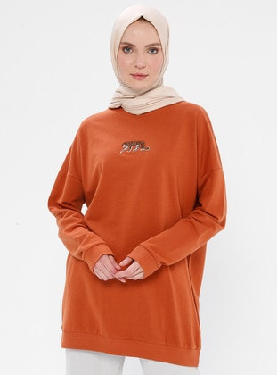 Viscose - Round Collar - Terra Cotta - Sweat-shirt