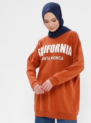 Viscose - Crew neck - Terra Cotta - Sweat-shirt