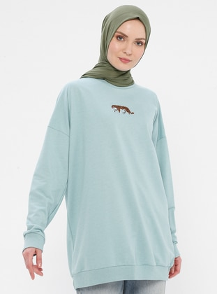 Viscose - Round Collar - Mint - Sweat-shirt