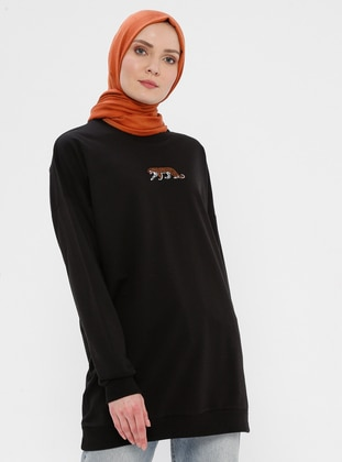 Viscose - Round Collar - Black - Sweat-shirt