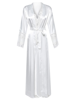 Ecru - Shawl Collar - Satin - Nightdress