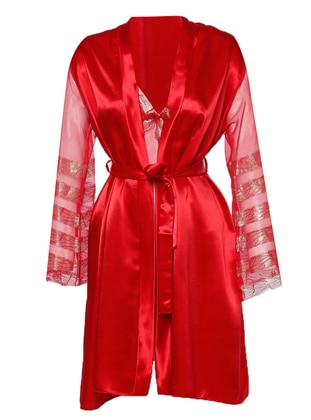 Red - Shawl Collar - Satin - Nightdress