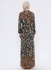 Brown - Leopard - Crew neck - Unlined - Dress