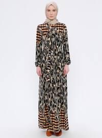 Kahverengi - Leopar - Yuvarlak yakalı - Astarsız kumaş - Elbise