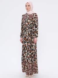 Plum - Leopard - Crew neck - Unlined - Dress