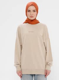 Viscose - Crew neck - Mink - Sweat-shirt