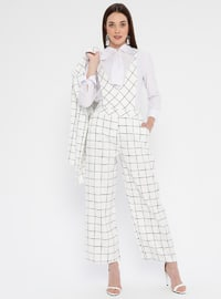 White - Checkered - Unlined - V neck Collar - Jumpsuit