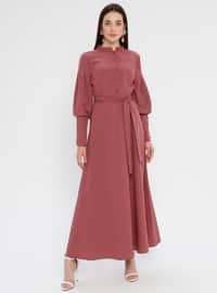 Old Rose - Çin yakalı - Astarsız kumaş - Elbise