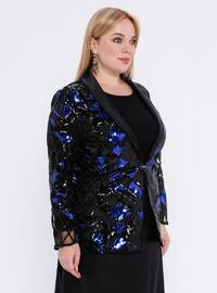 Saxe - Black - Crew neck - Fully Lined - Plus Size Evening Suit