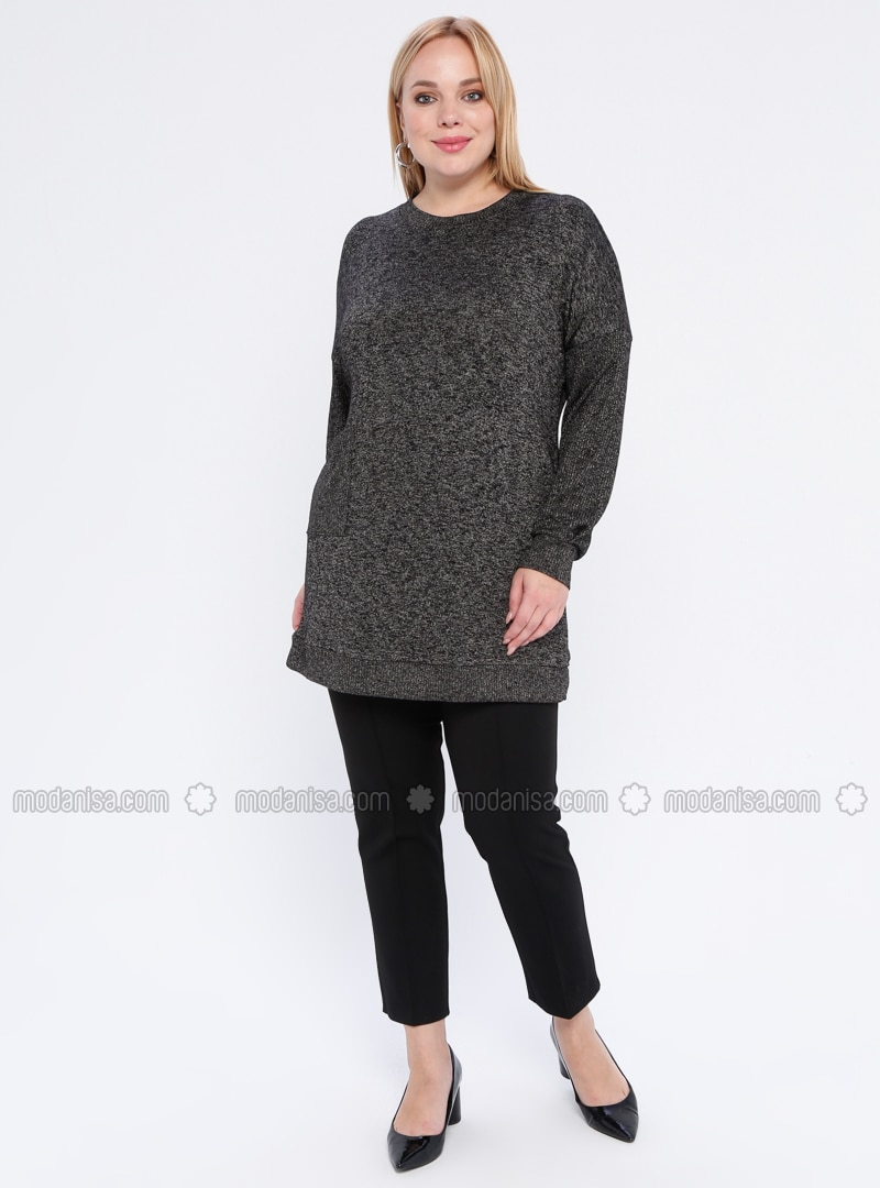 Black - Crew neck - - Plus Size Jumper
