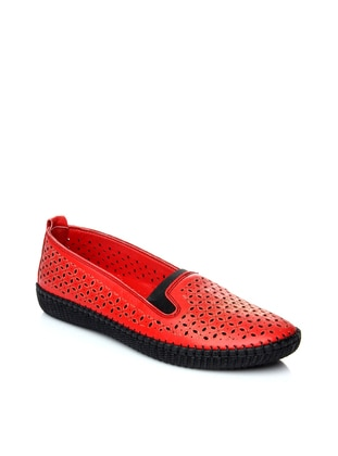 Red - Flat - Denim - Flat Shoes