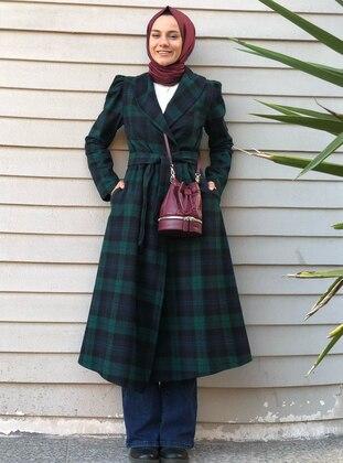 Black - Green - Checkered - Unlined - Shawl Collar -  - Wool Blend - Coat