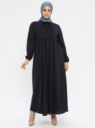 Navy Blue - Crew neck - Unlined - Plus Size Abaya - ECESUN