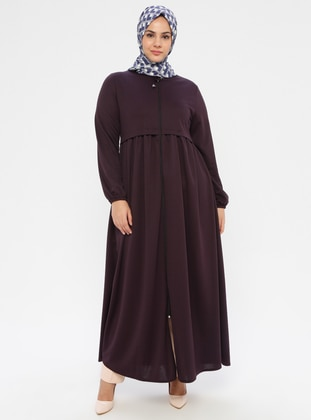 Plum - Crew neck - Unlined - Plus Size Abaya - ECESUN
