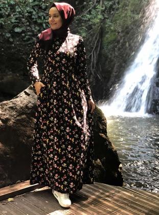 Black - Floral - Crew neck - Unlined -  - Dress