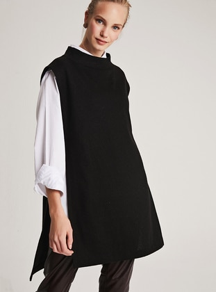 Black - Polo neck - Unlined -  - Poncho