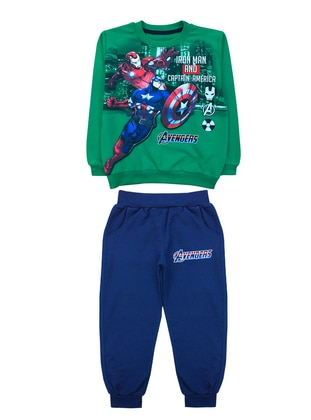 Crew neck -  - Unlined - Green - Boys` Suit