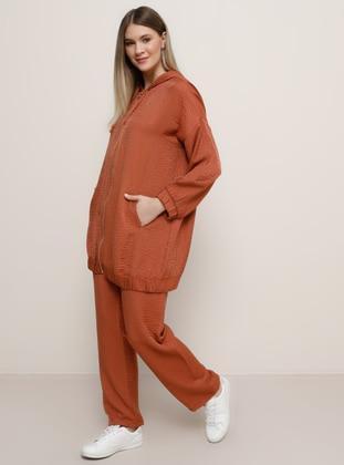 Tan - Unlined - Viscose - Plus Size Suit - Alia