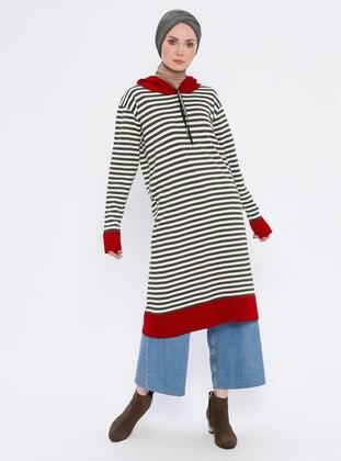 Khaki - Stripe - Acrylic -  - Tunic
