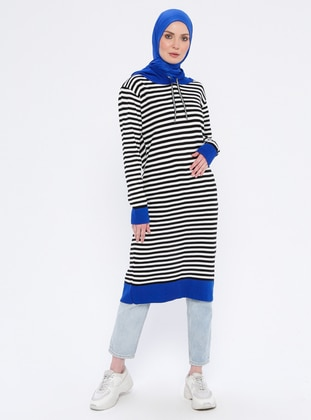 Black - Stripe - Acrylic -  - Tunic