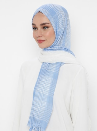 Blue - Plaid -  - Shawl