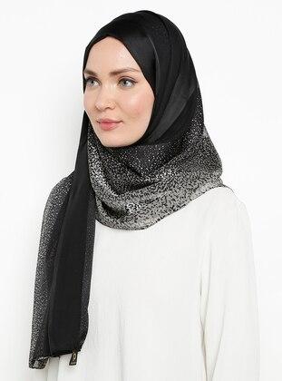 Gray - Plain - %100 Silk - Chiffon - Shawl
