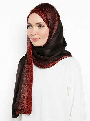 Red - Plain - %100 Silk - Chiffon - Shawl