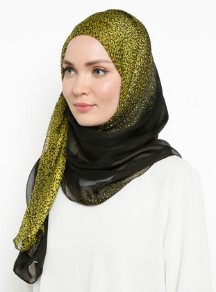 Yellow - Plain - %100 Silk - Chiffon - Shawl