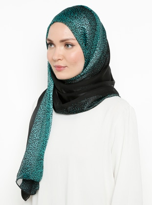 Green - Plain - %100 Silk - Chiffon - Shawl