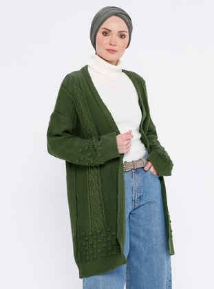 Khaki - Acrylic -  - Wool Blend - Cardigan
