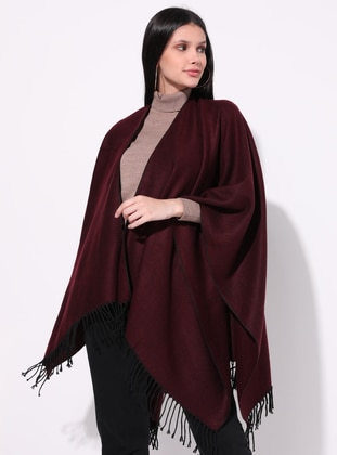 Maroon - Multi - Unlined - Acrylic -  - Wool Blend - Knit Ponchos