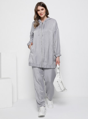 Gray - Unlined - Viscose - Plus Size Suit