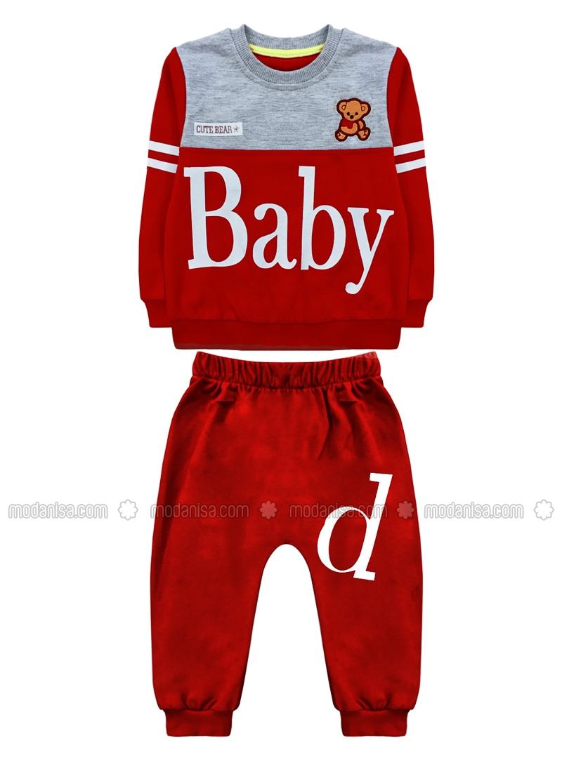 Crew neck -  - Unlined - Red - Baby Suit