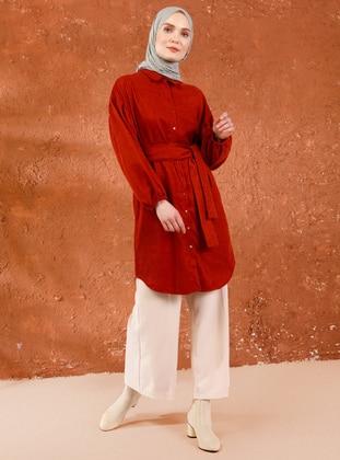 Terra Cotta - Shawl Collar -  - Tunic