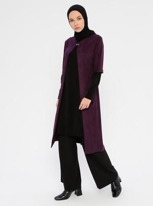 Purple - Black - Unlined - Viscose - Suit