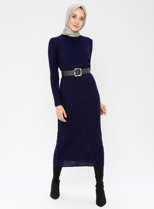 Navy Blue - Polo neck - Unlined - Acrylic -  - Dress