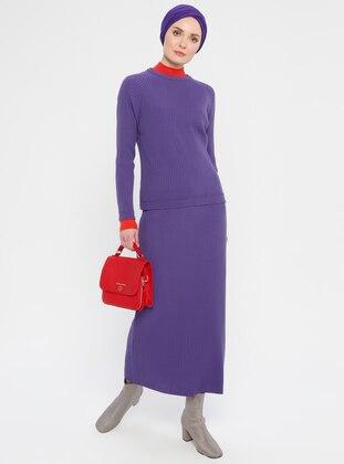 Purple - Unlined - Acrylic -  - Suit