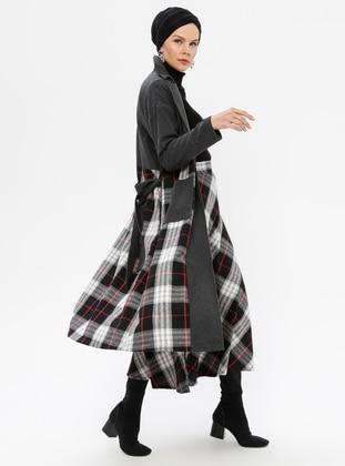Smoke - Plaid - Unlined - Shawl Collar -  - Coat