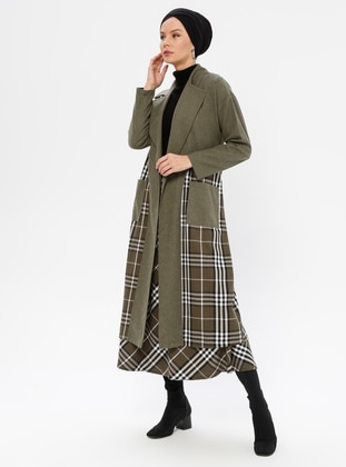 Khaki - Plaid - Unlined - Shawl Collar -  - Coat