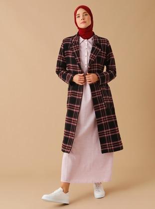 Maroon - Plaid - Fully Lined - Shawl Collar -  - Coat