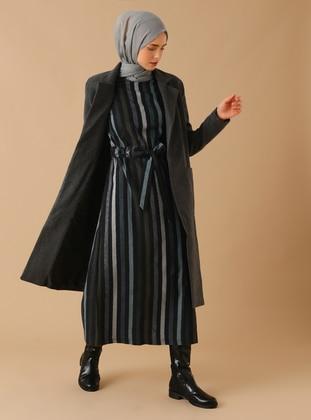 Gray - Fully Lined - Shawl Collar -  - Coat
