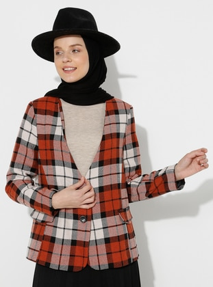 Terra Cotta - Plaid - Fully Lined - V neck Collar - - Jacket