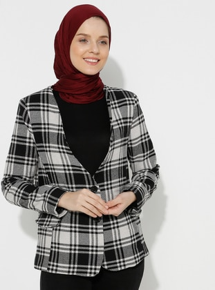 Black - Plaid - Fully Lined - V neck Collar - - Jacket
