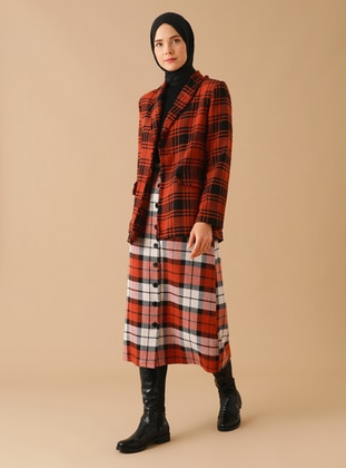 Terra Cotta - Plaid - Unlined - - Skirt