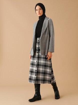 Black - Plaid - Unlined -  - Skirt
