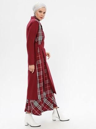 Maroon - Plaid - Unlined - Shawl Collar -  - Trench Coat