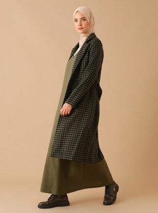 Khaki - Houndstooth - Unlined - Shawl Collar -  - Coat