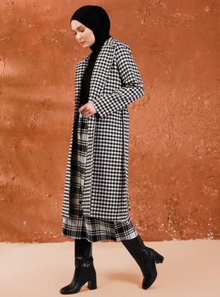 Black - Houndstooth - Unlined - Shawl Collar -  - Coat